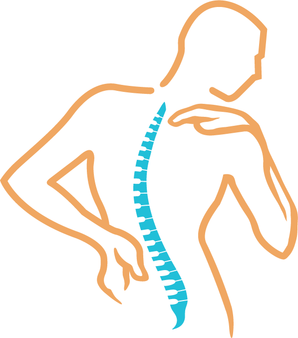 Illustration of a person and a curved spine