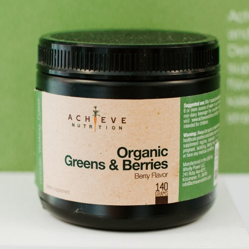 Achieve Nutrition Jar of Organic Greens and Berries